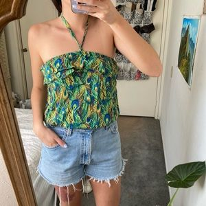 5/$25 Peacock printed strapless crop tube top